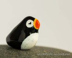 Little Puffin - Terrarium Figurine Miniature Polymer Clay Animal - Hand Sculpted - Made To Order
