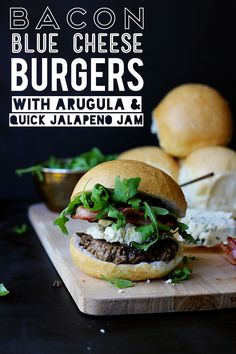 Bacon Blue Cheese Burgers with Arugula