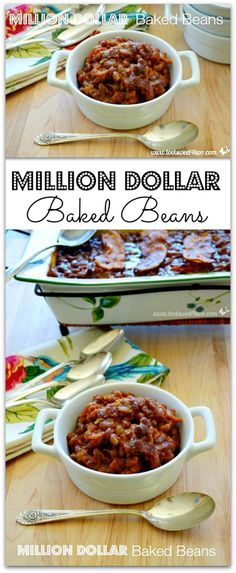 Million Dollar Baked Beans - chock full of bacon (and who doesn't like bacon?), these beans are sticky and delicious!  http://www.tootsweet4two.com