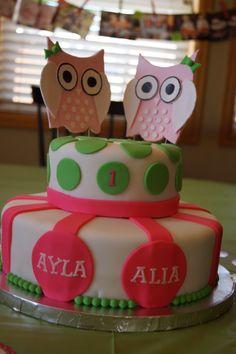 Twin Owl Birthday Cake, Pink and Green Birthday, 1st Birthday