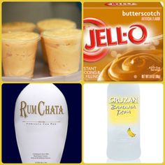 butterscotch instant pudding Cup Milk Cup Rumchata Cup banana rum or banana liqueur tub Cool. Pudding Shot Recipes, Jello Pudding Shots, Jello Shot Recipes, Pudding Desserts, Jello Shots, Party Drinks, Fun Drinks, Yummy Drinks, Liquor Shots