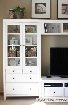What paint colour is IKEA Hemnes white?- What paint colour is IKEA Hemnes white? The Accessorized Hemnes Entertainment Center – Meadow Lake Road - Living Room Decor Ikea, Home Living Room, Apartment Living, Ikea Hemnes Living Room, Ikea Bedroom, Ikea Hemnes Bookcase, Ikea Expedit, Ikea Entertainment Center, Entertainment Products