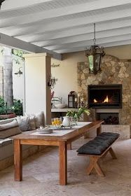 Rustic wood and wicker furniture gives this outdoor living area casual elegance. Clad in stone, the built-in braai creates a striking focal point. Decor, Home And Garden, Home, Outside Living, Outdoor Garden Furniture, Outdoor Living Areas, Outdoor Dining, Built In Braai, Rustic House