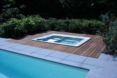 Buitenvloer bij jacuzzi. #jacuzzi #vloer #exterior #tida #parket #zwembad #overkapping #tida #tidaparket #tida parket #parket