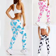 Fashion Women Leggings Workout Low Waist Pants Elastic Cartoon Print 2017 //Price: $9.95 & FREE Shipping //     #sportyleggings