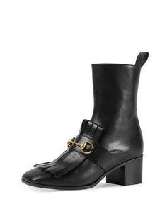 Gucci Polly Kiltie Leather Ankle Boot, Nero