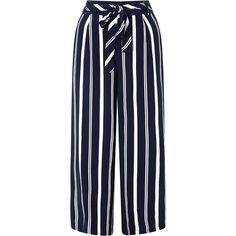 Monsoon Roz Stripe Cropped Trousers ($79) ❤ liked on Polyvore featuring pants, capris, cropped trousers, cropped capri pants, striped pants, blue pants and blue crop pants