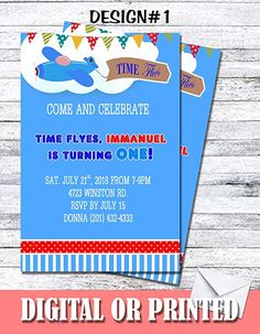 Amazon.com: Time Flies Airplane Personalized Birthday Invitations More Designs Inside!: Handmade Personalized Birthday Invitations, Birthday Party Invitations, Birthday Parties, Sms Text, Print Store, Invitation Set, Make Design, Airplane, Rsvp