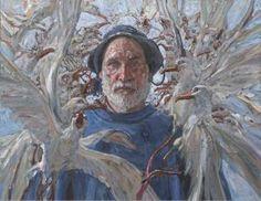Blue - man with birds - painting - Daud Akhriev