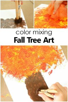 Color Mixing Fall Tree Craft for Kids. Autumn Art Project Toddlers, preschoolers, and kindergarteners can explore colors in this Color Mixing Fall Tree Craft for Kids, a fun fall art project. Preschool Art Projects, Fall Art Projects, Creative Activities For Kids, Autumn Activities For Kids, Fall Preschool, Preschool Crafts, Projects For Kids, Creative Kids, Toddler Activities