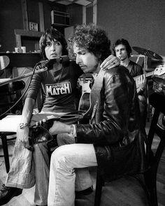 Bob Dylan avec Joan Baez, répétant à New York pour The Rolling Thunder Revue, 1975, par Ken Regan