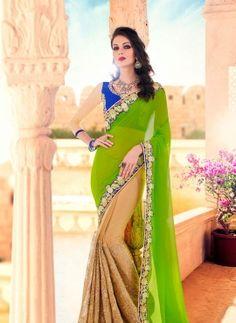 Green & Beige floral border Indian designer saree with blouse