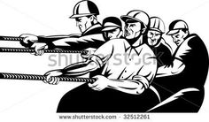 Team of industrial workers pulling together as a team #constructionworkers #retro #illustration
