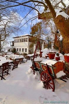 Portaria, Mount Pelion Snow in Greece Myconos, Thessaloniki, Winter Scenes, Greece Travel, Greek Islands, Beautiful Places, National Parks, Scenery, Around The Worlds