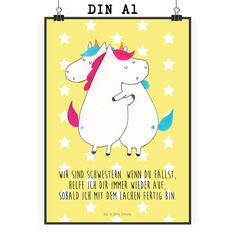 Poster DIN A1 Einhörner Umarmen aus Papier 160 Gramm  weiß - Das Original von Mr. & Mrs. Panda.  Jedes wunderschöne Poster aus dem Hause Mr. & Mrs. Panda ist mit Liebe handgezeichnet und entworfen. Wir liefern es sicher und schnell im Format DIN A2 zu dir nach Hause. Das Format ist 549 x 841 mm    Über unser Motiv Einhörner Umarmen  Die umarmenden Einhörner sind das ultimative Geschenk für die Schwester. Sie klaut die Klamotten, besetzt das Badezimmer und will immer die Fernbedienung. Aber…