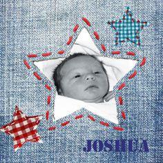 Spijkerstof, jeans geboortekaartje met foto en sterren | fotokaartje | birth announcement cards