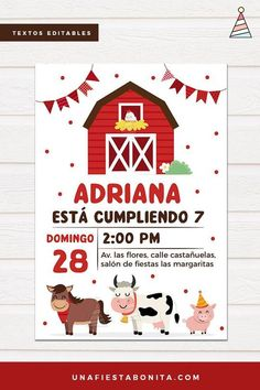 Celebrate a fun birthday with the theme of the farm, invite everyone with these beautiful invitation Farm Party Invitations, Printable Invitations, Invitation Templates, Picnic Birthday, Birthday Fun, Farm Animal Birthday, Holiday Program, Party Decoration, Boy Baby Shower Themes
