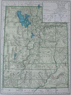 1947 Vintage UTAH MAP of Utah State Map 1940s Original Atlas Map 3376