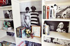 Family photo bookshelf project