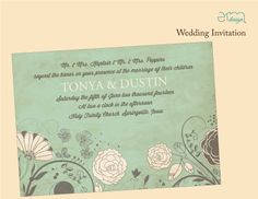 Green White Brown Floral Wedding Invitation by EmDesign #weddinginvitations #emdesignia