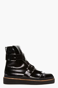 Marni Edition Black Leather Buckle Boots for women