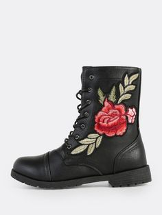 Online shopping for Rose Embroidered Lace Up Ankle Boots BLACK from a great selection of women's fashion clothing & more at MakeMeChic.COM.