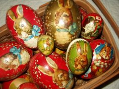Vintage & antique paper mache German Easter candy containers