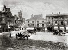 Market Place, Huddersfield, 1889 Huddersfield Yorkshire, St Albans, Old Photos, Past, Saints, Beautiful Places, Street View, Victorian, Cottage