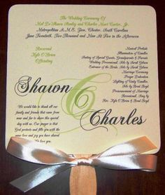Classy green wedding fan program can be changed with almost any type of fonts. Full assembly, rounded corners and ribbon included. Fan Programs, Wedding Program Fans, Wedding Fans, Wedding Book, Wedding Trends, Wedding Ideas, Wedding Photos, May Weddings, Simple Weddings
