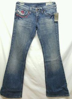 Diesel Industry Lowky B.C. 008BS wash denim flare jeans SZ W25 L30 #DIESEL #Flare #lowkybc #lowky #jeans #madeinitaly #denim #womens #clothes #dieselinddustry