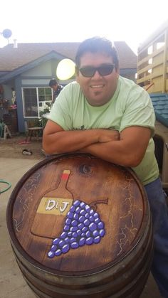 Demarcos pizzeria kustom hand carved wine barrel  table