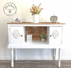 repurposed furniture Old Entertainment Cabinet Top Flipped Upside Down and Repurposed - Christina Faye Repurposed Farmhouse Cabinets, Antique Cabinets, Tv Cabinets, Farmhouse Buffet, Farmhouse Style, Repurposed Furniture, Painted Furniture, Diy Furniture, Upscale Furniture