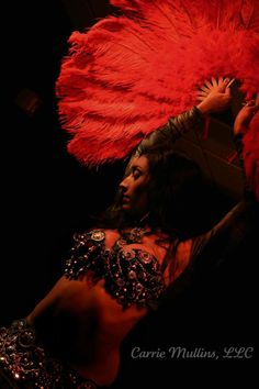 belly dancing costume & red fans