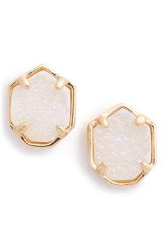 Kendra Scott 'Logan' Stud Earrings Rose Gold/Iridescent Druzy