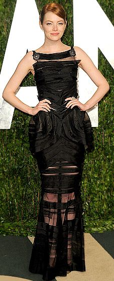 Emma Stone in Chanel Couture at the Vanity Fair Oscar party.