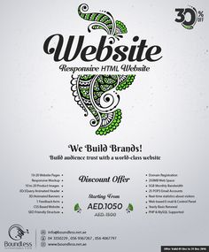 Bumper #Discount #Offer 30% OFF on #Web #Designing Dubai Get Fantastic and creative Website Design for your Business.  We Design your Website at #affordable cost. What will you get from us? 10-20 Website Pages Responsive Mockup 20-30 Product images 3D/jquery Animated Header 1 Feedback Form Domain (.biz, .net, etc) 250MB Web Space 5GB Monthly Bandwidth 25 POP3 Email Accounts Yearly Basis Renewal All these just in 1050 AED instead of 1,500 AED