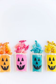 DIY Colorful Jack O' Lantern Treat Bags
