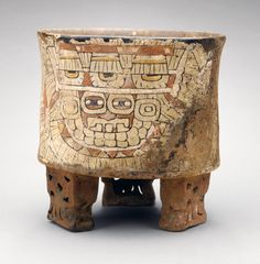 Vessel with Image of Goggle-eyed figure Mexico, Basin of Mexico, Teotihuacan, Teotihuacan, 550-650 Furnishings; Serviceware Stuccoed ceramic with postfire applied paint Height: 5 1/2 in. (13.97 cm)