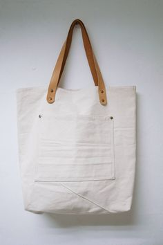 Leathinity - Beige Canvas Tote Bag w/ Genuine Leather Handles $64.99