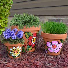 DecoArt Three Terra Cotta Floral Pots #claypot #craft