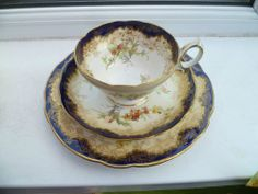Lovely Vintage Hammersley China Trio Tea Cup Saucer Plate Cobalt Blue 13503