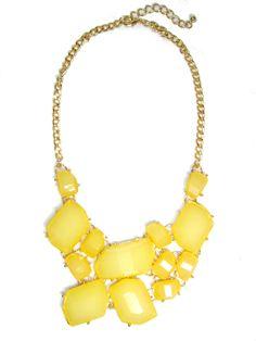 Lemon Stone Fragment Statement Bib Necklace