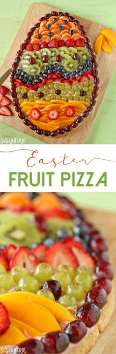 Easter Egg Fruit Pizza - fresh fruit, strawberry cream cheese, and a sugar cookie crust! | From SugarHero.com