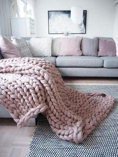 Chunky knit blanket throw  wrap 100% merino wool extra
