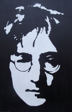 John Lennon Beatles Stencil Painting on Canvas by Ramart79, etsy
