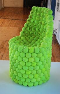 ♻ The Tennis Ball Chair. because... why? what makes a person think, oh! a chair made entirely out of tennis balls will be awesome! like really. who thinks that?