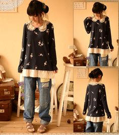 Would it be easy to make a sweater like this? Just add lace and some cute details... sounds like a fun project!