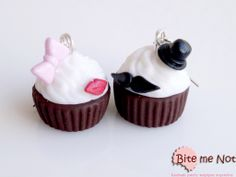 Glam style cupcakes -Silver plated hook earrings!  -Big cupcakes, one with mustache and hat and another with bow and red glittered lips!