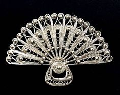 Flamenco Brooch Abanico Filigrana, Sterling Silver Brooch, Filigree Brooch, Fan Brooch, Flamenco Accessories, Spain, Spanish, Gift Idea