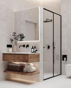 Modern Bathroom Design, Bathroom Interior Design, Minimal Bathroom, Modern Design, Modern Interior, Wood Bathroom, Bathroom Inspo, Designs For Small Bathrooms, Small Bathroom Bathtub